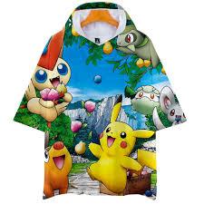 Summer Pokemon Go Anime Pikachu 3D Short Sleeve Hooded Men Women ...