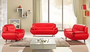 sabina red leather sofa set