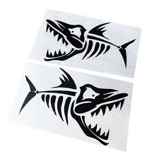 Usa Aggressive Kayak Decals Fish Bones Skeleton Stickers For Kayak Canoe Fishing Boat Wall Car Accessories 2 Pieces Set 6 Sports Outdoors Kayak Accessories