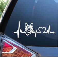 Blue Heeler Cattle Dog Love Heartbeat Window Decal Sticker Custom Sticker Shop