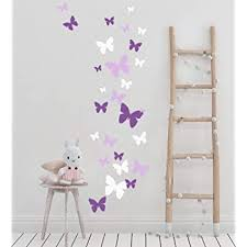 Butterfly Wall Decals Beautiful Girls Wall Stickers Wall Art Vinyl Stickers For Bedroom Peel And Stick Kids Room Decor Nursery Toddler Teen Decorations Playroom Birthday Gift Lilic Lavender White Wall Decor