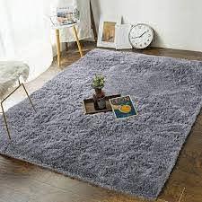 Amazon Com Andecor Soft Fluffy Bedroom Rugs 4 X 6 Feet Indoor Shaggy Plush Area Rug For Boys Girls Kids Baby College Dorm Living Room Home Decor Floor Carpet Grey Home Kitchen
