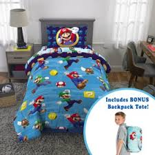 Super Mario 5pc Kids Bedroom Set W Pillows Blanket Storage And Wall Tapestry Walmart Com Walmart Com