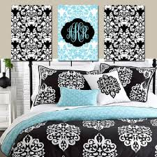 damask wall art monogram artwork aqua