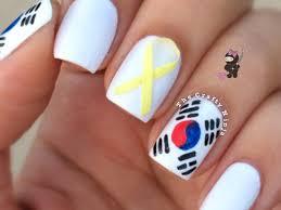 south korea flag nail art tutorial video