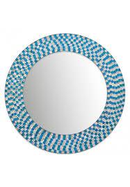 mosaic mirror with aquamarine frame