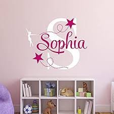 Amazon Com Custom Gymnastics Name Wall Decal Girl Room Decoration Nursery Wall Decals Ballet Decor Vinyl For Teen Girls Baby