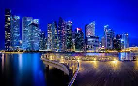 تحميل خلفيات ناطحات السحاب ليلة أبراج سنغافورة عريضة