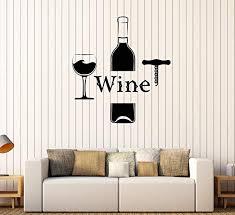 Amazon Com Designtorefine Vinyl Wall Decal Wine Bottle Glass Alcohol Bar Drink Stickers Mural 570ig Purple Home Kitchen