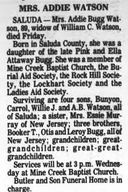 Obituary for Addle Bugg WATSON (Aged 89) - Newspapers.com