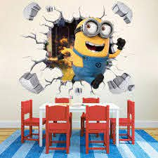 Diy Gift Minions Despicable Me 3d Smashed Wall Sticker Decal Home Decor Art Mural Poster Removeable Free Shipping B404 Wall Stickers Aliexpress