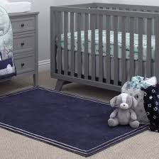 Little Love By Nojo Kids Nursery Plush Navy Rug 5 9 X 3 9 Navy With Stripe Border Walmart Com Walmart Com