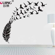 Creative Large Feather Flying Birds Wall Sticker 160 170cm Home Decor Bedroom Living Room Wallpaper Carved Vinyl Art Wall Decals Wall Stickers Aliexpress