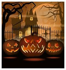 Scary Pumpkins Against Iron Fence Vector Illustration Gothic Building And Naked Trees On Full Moon In Background Halloween Concept Royalty Free Vector Graphics