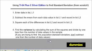 How to Find Standard Deviation on the TI-84 Graphing Calculator - dummies
