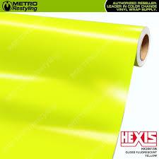 Gloss Fluorescent Yellow Hexis Vinyl Wrap Metro Restyling