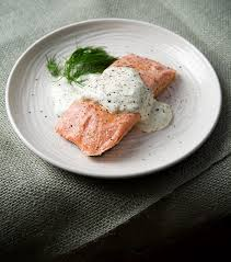 poached salmon with horseradish dill cream