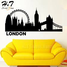 Large City Silhouette Building Skyline Cityscape Vinyl Wall Sticker Decal Sofa Living Room Bedroom Home Decor Wish