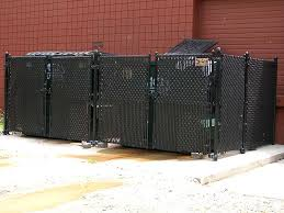 Black Vinyl Coated Chain Link Dumpster Enclosure By Elyria Fence Happily Serving The Cleveland Akron And Sandusky Areas Since 1932