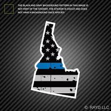 Distressed Thin Blue Line Idaho State Shaped Subdued Us Flag Sticker Police Id Ebay