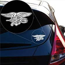 Amazon Com Yoonek Graphics Us Navy Seal Decal Sticker For Car Window Laptop And More 972 8 X 17 5 White Automotive