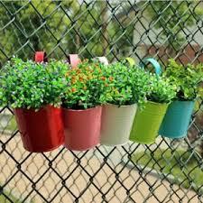 Small Flower Pot Balcony Yard Hanging Planter Metal Iron Garden Fence Bucket Ebay