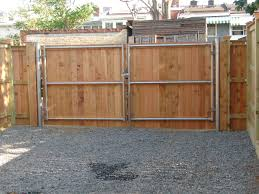 6 Foot Wood Solid Board Double Gate On Metal Frame Chain Link Fence Gate Fence Backyard Fences
