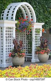white garden archway white wooden