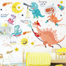 Dinosaur Wall Stickers 3d Watercolour Peel And Stick Removable Wall Decals For Kids Bedroom Living Room