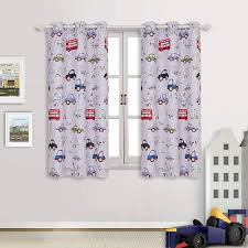 Cute Kids Boys Bedroom Cartoon Car Nursery Playroom Window Curtains Drapes