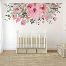 Blooming Spring Watercolor Wild Pink Flowers Border Wall Decal Motomoms Decor