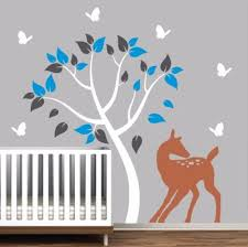Nursery Wall Tree Decal With Doe And Butterflies Decals By Delia