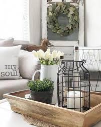 light wooden tray and farmhouse coffee
