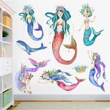 Mermaid Princess Wall Stickers For Kids Rooms Home Decor Baby Bathroom Mermaid Wall Decal Girl Bedroom Decorative Sticker Muraux Wall Stickers Aliexpress