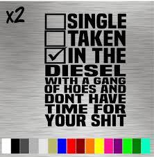 2 Single Taken Diesel Decals Sticker Vinyl Funny Dodge Etsy