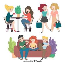 spend time with friends clipart
