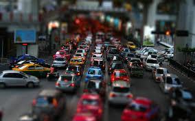 car traffic city street tilt shift