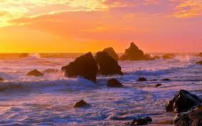 sunset sea rocks waves landscape ocean