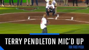 Mic'd Up: Terry Pendleton throws out first pitch at 2019 Braves home opener  - YouTube