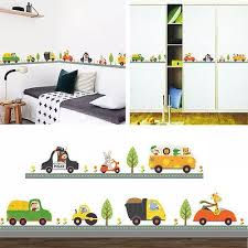 Animal Car Wall Stickers For Kids Room Children Boy Bedroom Wall Decals Decor Sticker For Kids Room Wall Stickers For Kidscars Wall Stickers Aliexpress