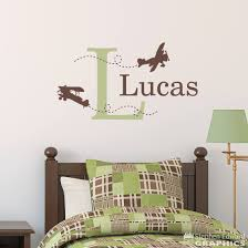 Biplane Wall Decal Airplane Decal With Initial And Name Personaliz Stephen Edward Graphics
