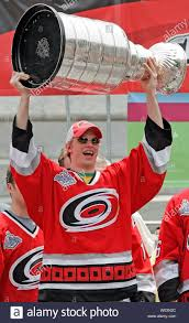 Carolina Hurricanes' Eric Staal holds the Stanley Cup at a rally ...