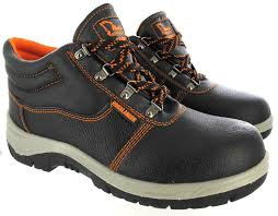 mens leather steel toe cap safety black