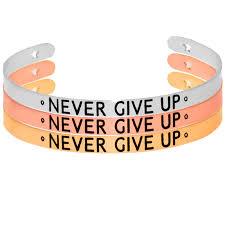 inspirational mantra bangle bracelet positive quotes never give up