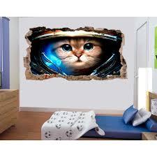 Startonight 3d Mural Wall Art Photo Decor Astronaut Cat Amazing Dual View Surprise Wall Mural Wallpaper For Bedroom Kids Wall Paper Art Gift Large 47 24 By 86 61 Walmart Com Walmart Com