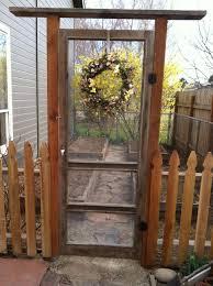 Garden Gate Made From An Old Screen Door Such A Cool Idea It Would Make My Garden Seem Even More Priv Garden Gate Design Diy Garden Fence Old Screen Doors