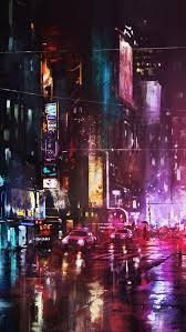 oil painting new york city in night