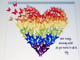 hand made butterfly heart art quote colors of the rainbow