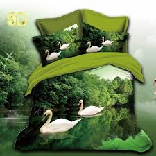 5d designer cotton bed sheets dark green