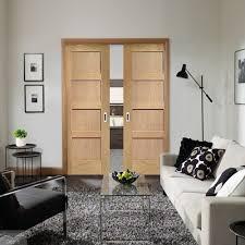 shaker oak 4 panel double pocket doors
